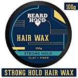Beardhood Clay & Fiber Strong Hold Hair Wax For Men, Natural Look, 100g