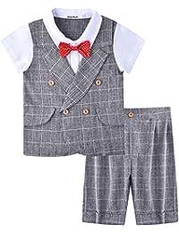 ZOEREA Baby Junge Anzug 2 tlg Gentleman Kleidung kurzen Ärmeln mit Bowtie