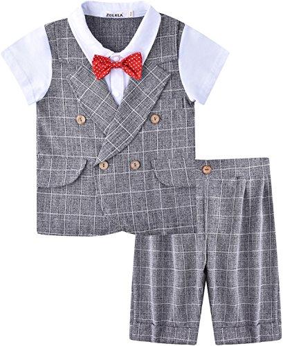 zug 2 tlg Gentleman Kleidung kurzen Ärmeln mit Bowtie (Anzug Für Kinder)