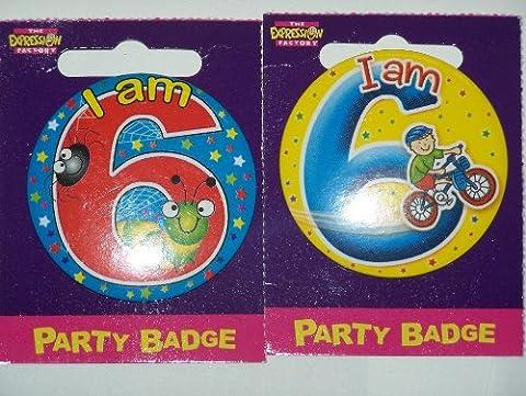 small birthday badge age 6 boy size 5.5cm