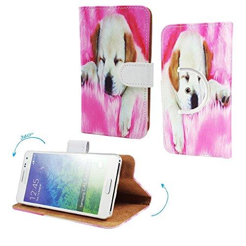 LG Bello 2 X150 Smartphone Tasche / Schutzhülle mit 360° Dreh und Standfunktion - 360° Hund 1 Nano M