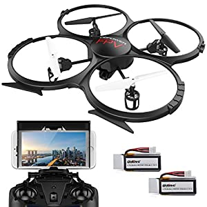 DBPOWER UDI U818A, upgraded Wi-Fi FPV drone with 2 MP HD camera, App control, RC quadcopter, headless mode drone with 2 batteries
