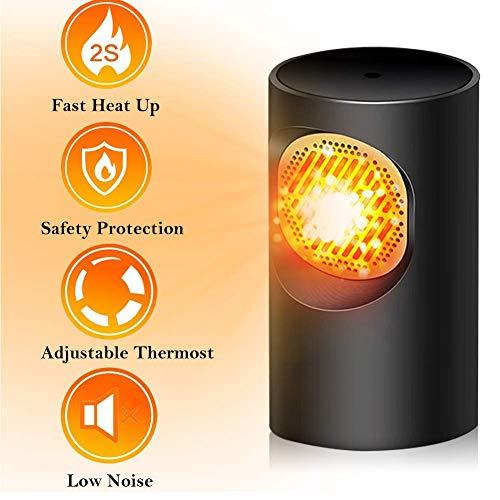 Wuudi Mini calentador de ventilador eléctrico, calentador de escritorio ligero para oficina doméstica...