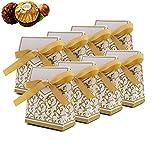 CN-Culture Lot de 50 boîtes à bonbons avec rubans cadeau pour décoration de fête de mariage ou Pâques Doré