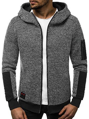 OZONEE Herren Kapuzenpullover Sweatshirt Sweatjacke Strickjacke Sportjacke Pullover Pulli Modern Streetwear 777/9632B GRAU M (Pullover Strickjacke Für Männer)