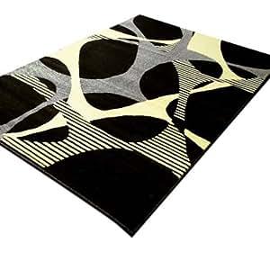Tapis moderne 165x230 noir creme Bordeaux