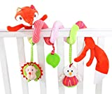 Happy Cherry Babyspielzeug Babybett Hängende Spirale mit Rasseln Spiegel Beißring Kinderwagen Fuchs-Design Beschwichtigen Schlaf Plüschtier Spielzeug