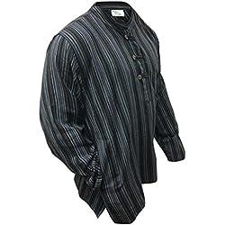 Camisa estilo hippie multicolor, de manga larga, ligera y cómoda, para hombre Negro black mix XX-Large