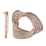S&E Frauen Gold überzogener Schal Ring Bling Crystal Design Schals Clip Geometry Kreis Form Schals Buckle