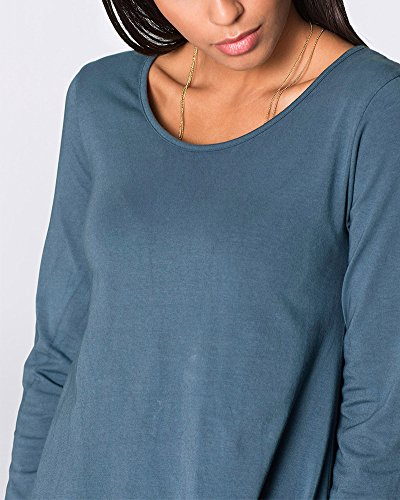 Donna Girocollo Lunga Top Irregolare Mini Abiti Camicetta Pullover Oberteil Bluse e Camicie Blu Grigio