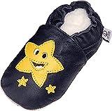 Lappade Stern Lederpuschen Jungen Krabbelschuhe Baby Lauflernschuhe mit Ledersohle Gr.6-12months (19/20 EU, Navy gelb)