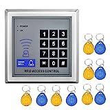YAVIS [Update] 125 kHz RFID ID ID Ständer Alone Access Control Tastatur Kartenleser RFID Nähe Tür Zugang Control System + 10 Schlüsselanhänger-Unterstützung für 500 Benutzer