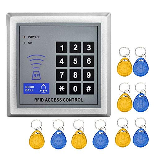 YAVIS Codeschloss Türöffner Zutrittskontrollsystem Sicherheit Tor Eintrag + 10 Schlüsselanhänger RFID Nähe Türeinstieg Standalone Access Control System für 1000 Benutzer Proximity Access Control System