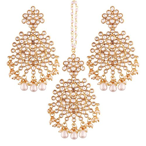 I Jewels Gold Plated Kundan & Pearl Earring Set with Maang Tikka for Women (TE2497W)