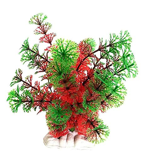 Ameesi Vivid Künstliche Aquarium Fisch Tank Kunststoff Fake Pflanze Gras Dekoration Ornament-Rot + Grün