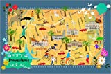 Poster 91 x 61 cm: Bunter Stadtplan Braunschweig von