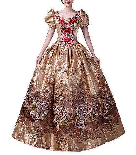 s Kleid mit Krinoline Renaissance mittelalterliche Maxi Palace Royal Masquerade Kostüm (Gold 1, 34) (Marie Antoinette Halloween-kostüme)
