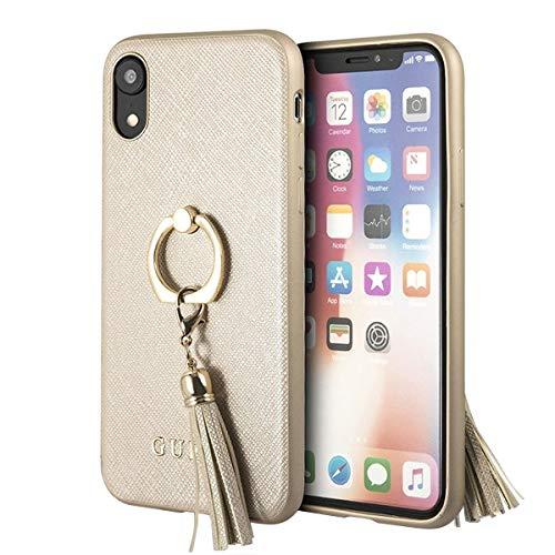 Guess Hülle für das iPhone Xr beige GUHCI61RSSABE Hardcase Saffiano mit Ringständer