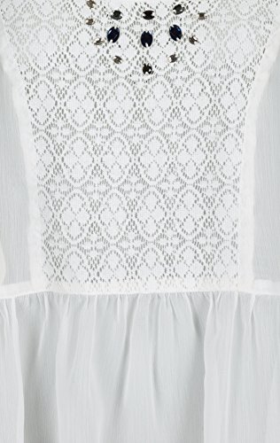Tom tailor femme femme blousetop w crochet et perles Blanc - (8008) white