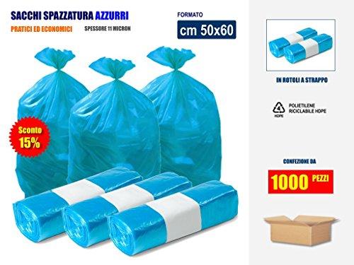 Sconto 15% !! sacchetti spazzatura raccolta differenziata rifiuti - in plastica di polietilene hdpe colore azzurro cm 50x60 | scatole da 1000 sacchi
