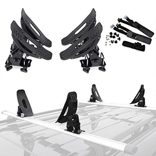 alavente Universal Kanu Kajak Carrier Dach Rack Halterung Kit für die meisten Kreuz Bar innerhalb 3,2cm Breite -