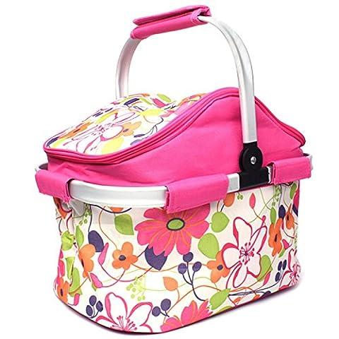 Gosear 20L Große Kapazität Isoliert Picknick Essen Korb Kühler Tasche Zusammenklappbar für Wandern Urlaub Im freien Reisen Picknick Grill Pink