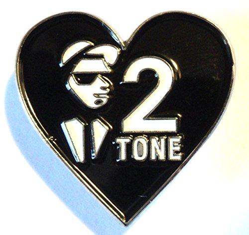 Love 2Tone Ska a cuore bianco e nero Musica Spilla in metallo (Tone Cuore Spilla)