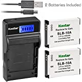 Kastar Battery (X2) & SLIM LCD Charger For Samsung SLB-10A JVC BN-VH105 And Digimax ES55 ES60 EX2F L100 L110 L210 L310W M100 PL50 PL51 PL55 PL60 PL65 PL70 WB250F WB500 WB700 WB750 WB800F WB850F WB2100