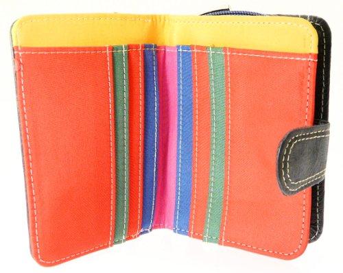 Signore nappa portafogli in pelle borsa e titolare della carta di credito con zip fino sezione coin - nero con finiture multicolore