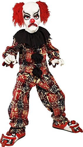 Smiffys, Kinder Jungen Grusel Clown Kostüm, Oberteil, Hose, Schuhe, Maske und Handschuhe, Größe: L, 36161