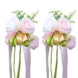 VORCOOL 2 Unids Rosa Flor Artificial Decoración del Coche de Boda Flores de Boda (Rosa)