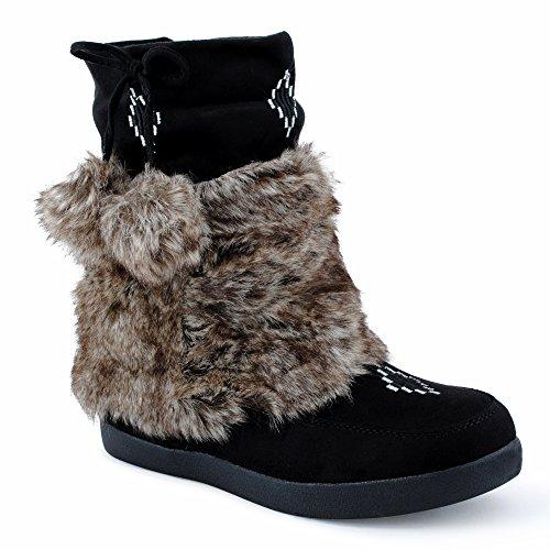 Damen Stiefeletten Stiefel Fransen Blockabsatz Kunstfell Schlupf Warm Gefüttert Boots Velours-Optik Mokkasins Schuhe Schwarz EU (Boots Fransen Für Mädchen)