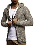 LEIF NELSON Herren Sweatjacke Hoodie Kapuzenpullover Kapuzen Jacke Freizeitjacke Regenjacke Pullover Sweatshirt Basic X-Large - Khaki