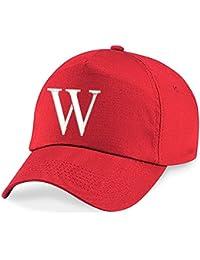 Casquette 4sold Unisexe Broderie Coton Baseball Cap Garçons Filles Hip Hop Flat Hat Bonnet A-Z Alphabet Bringt Rouge
