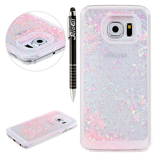 SainCat Coque Samsung Galaxy S6,Design 3D Transparent Liquide Paillette Brillante Coque Plastique...