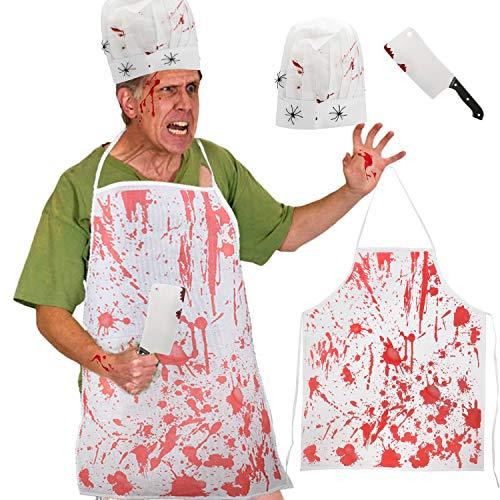 Howaf Blutig Halloween Schlächter Kostüm Set , Serien-Mörder Koch Schürze Hut Hackebeil blutig Halloween Kostüm Zubehör Herren Horror Prop Zombie Halloween Party Dekoration (Zombie Koch Kostüm)