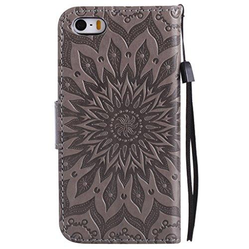 Crisant Case Cover For Apple iPhone 5 5S / SE,3D Soleil gaufré conception portefeuille magnétique supporter PU cuir de flip protection housse coque étui pour Apple iPhone 5 5S / SE gris gray