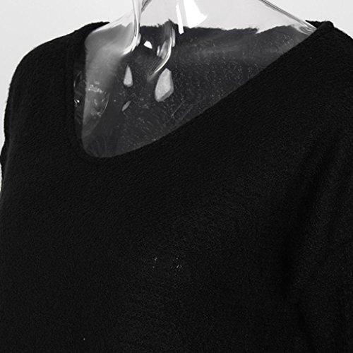Camicetta Donna , feiXIANG Donne V-collo sciolto maglia maglione manica lunga donne casual Tops T-shirt,M~XL,Fibre acriliche Nero