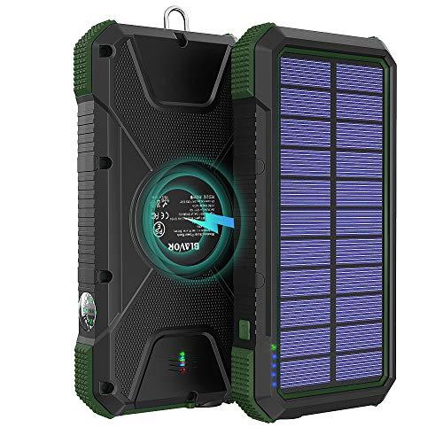 BLAVOR Schnelle Wireless Power Bank 20000mAh,18W Quick Charge 3.0&induktives Laden 10W/7.5W,Solar Ladegerät Verbessert Externer Akku,Tragbare Notfall-Energie mit Type-C Eingangsports,2 USB,LED-Lich Solar Usb Power