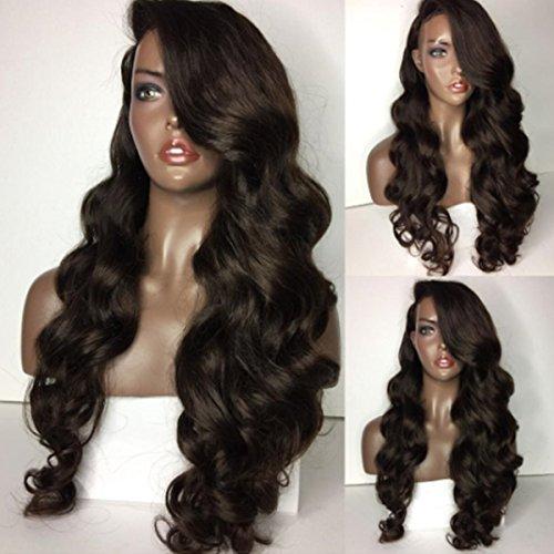 qd-tizer 4# braun Farbe Haar Perücke lang gewellt Kunsthaar, Lace-Front gewellt Perücken für Mode Frauen 71,1cm