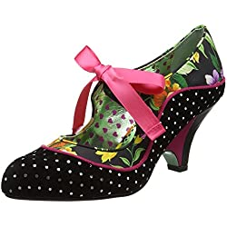 Poetic Licence by Irregular Choice Damen Schools Out Pumps, Multicolour (Black Floral), 38