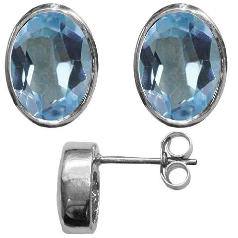 Stunning ladies solid sterling Silver 925 single stud Oval Earrings