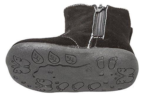 Bild von GIBRA® Stiefel für Babys und Kleinkinder, echtes Wildleder, mit Reißverschluss, schwarz, Gr. 19-24