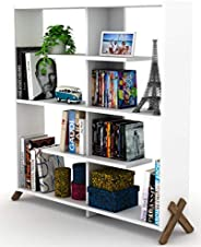 Made In Turkey Kipp Modern Book Shelve Living Room Furniture Book Shelf (White, bookcase)