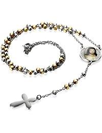 ba1168e43c38 Flongo Halskette Rosenkranz Kette, Edelstahl Anhänger Kugelkette Silber  Gold Golden Jesus Christus Fotoanhänger Medaillon Kruzifix