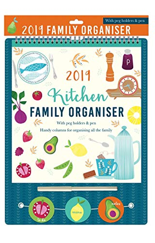 Tallon 0026 2019 Family Organizer with Pegs and Pen Hanging Pack Home Calendar Green