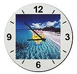 """Cristal reloj """"Gais Smiley sobre la mar en posición de yoga,"""" regarder- Ø18- ø20- ø30- Smiley- Emoji- astuces de Navidad, cristal, Ø20 cm"""