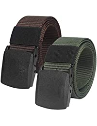 32eed158e 2 Piezas Cinturón Táctico Militar Ajustable Cintura Hombres Lona Nylon  Hebilla Plástica