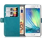 Samsung Galaxy A3, JAMMYLIZARD Luxuriöse Ledertasche Flip Cover, TÜRKIS