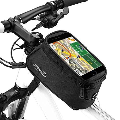 Ubegood Sacoche de Cadre, Étanche Sacoche de Vélo Écran Bicyclette Sacoche de Guidon pour iPhone X, iPhone 8, Samsung S9, Samsung S8, GPS jusqu'à 5,5 pouces